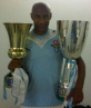 Picture in the dressing room with the 2 trophies won in 2009 : the Italian cup and the Italian super-cup